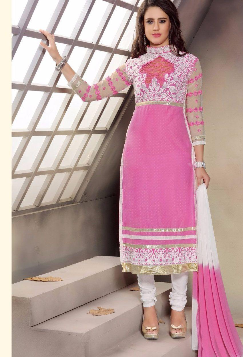 Indian Silk Churidar Suit Stitched Pink Designer Dress Partywear Salwar Kameez