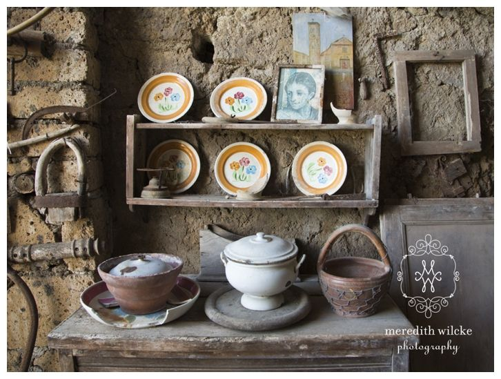 © Meredith Wilcke Photography, Winter Park, Florida #CivitadiBagnoregio #Italy #Italia #Tuscany #tuscan #broken #distress #damaged #rustic #remains #plates #photography #old