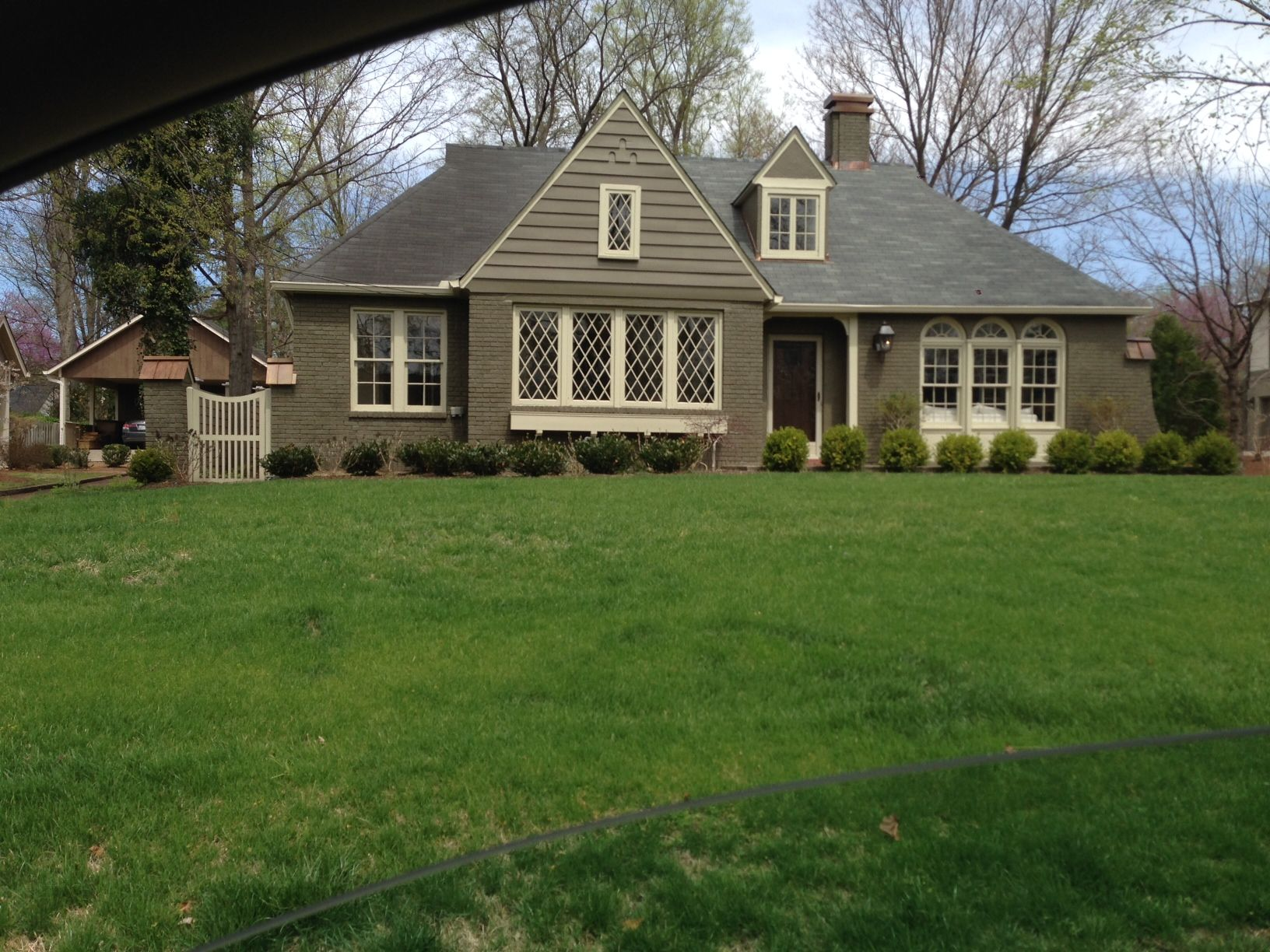 Exterior -- Natural Brick with Sage Green and Creamy White paint ...