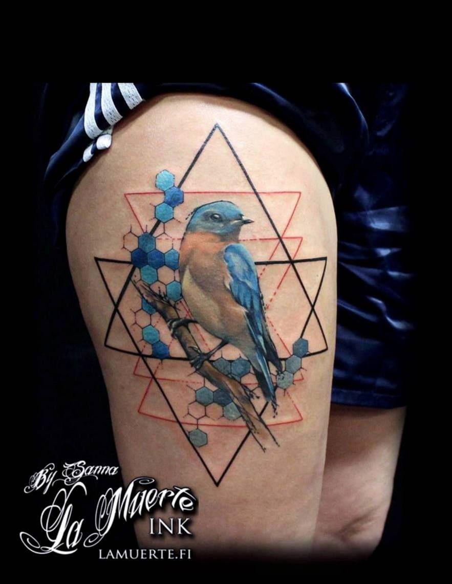 Bird and geometric background tattoo by Sanna Angervaniva La