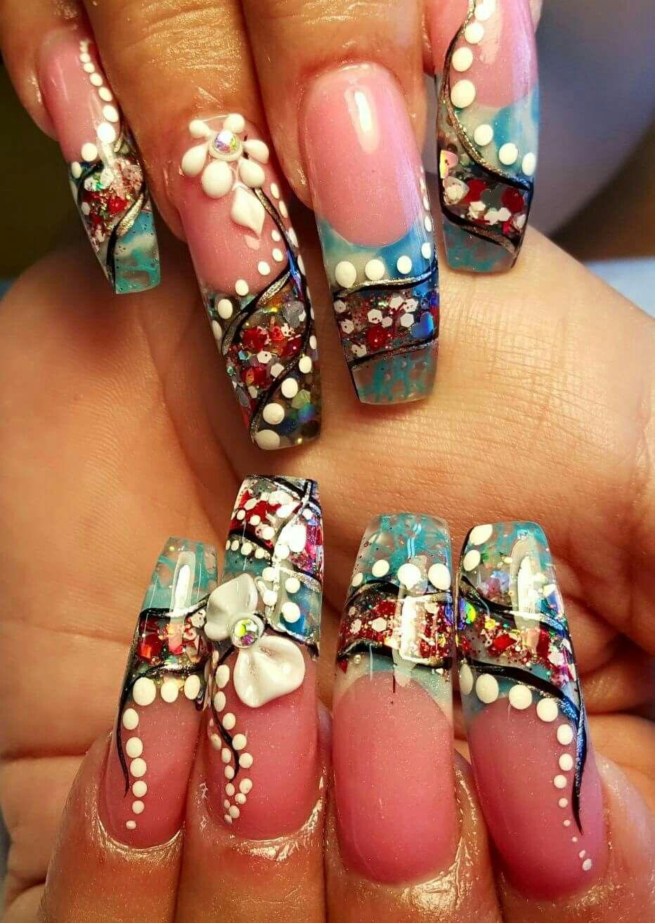 Lazo,dos tono,lineas,flor,brillo encapsulado | uñas de lazos | Pinterest