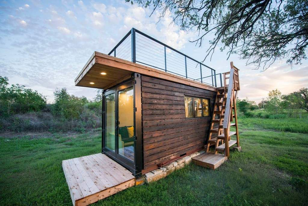 20 Yellow Blue Shipping Container Home By Texas Based Cargohome Container House Tiny Houses For Rent Tiny House Rentals