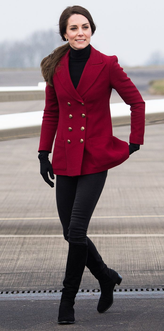 Kate Middleton Wears The Perfect Scarlet Coat On Valentines Day In Clarette Wedges Cornelia Black Jeans Boots Gloves Red Peacoat Hair Ponytail Classic Earrings