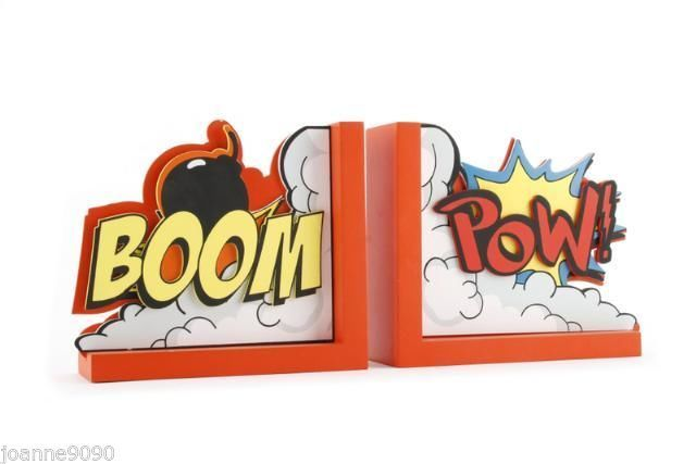 BOOM POW SUPERHERO RETRO KIDS WOODEN BOOKENDS BOOK ENDS BRIGHT HOME BEDROOM GIFT