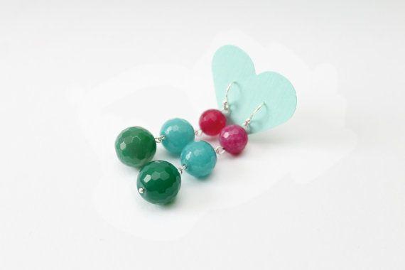Bright gemstone earrings long earrings candy earrings by visska, $22.00