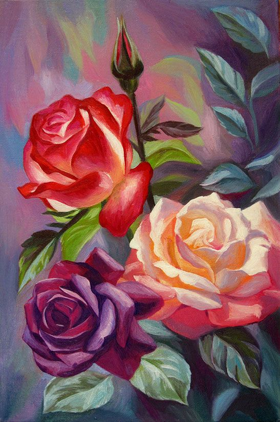 Pretty Multi Colored Rose Painting Flower Art Painting Rose