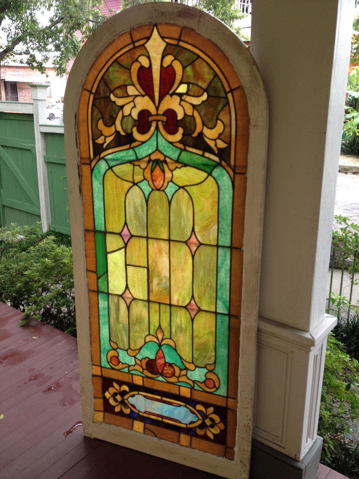 Large Antique Stained Gl Window