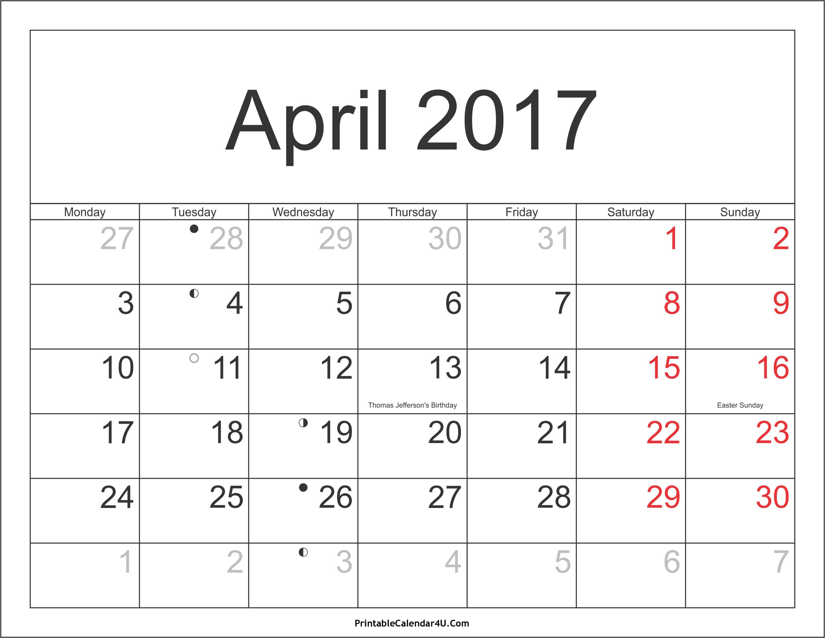April 2017 Calendar With Holidays Uk Desain