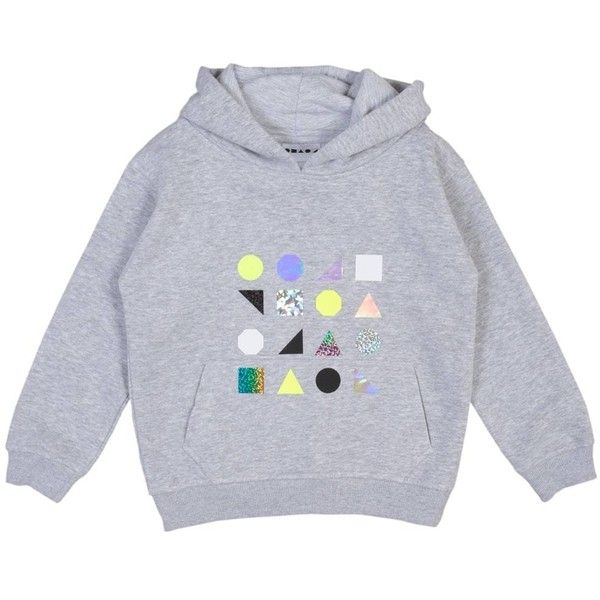 Shapes of Things - Branded Shapes Hoodie In Grey (£43) ❤ liked on Polyvore featuring tops, hoodies, neon hoodies, colorful tops, grey hooded sweatshirt, colorful hoodie and hooded pullover