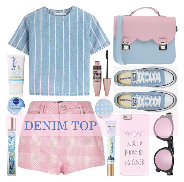 """""""Denim Top"""" by lenochca ❤ liked on Polyvore featuring T By Alexander Wang, La Cartella, Casetify, Illesteva, Maybelline, Miss Selfridge, Nivea, AERIN and denimtop"""