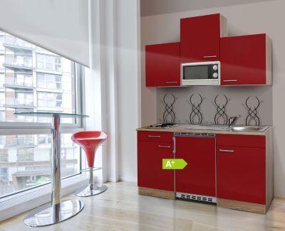 Respekta Küchenzeile KB150ESRMI 150 cm Rot-Eiche Sägerau - küchenzeile 240 cm mit geräten