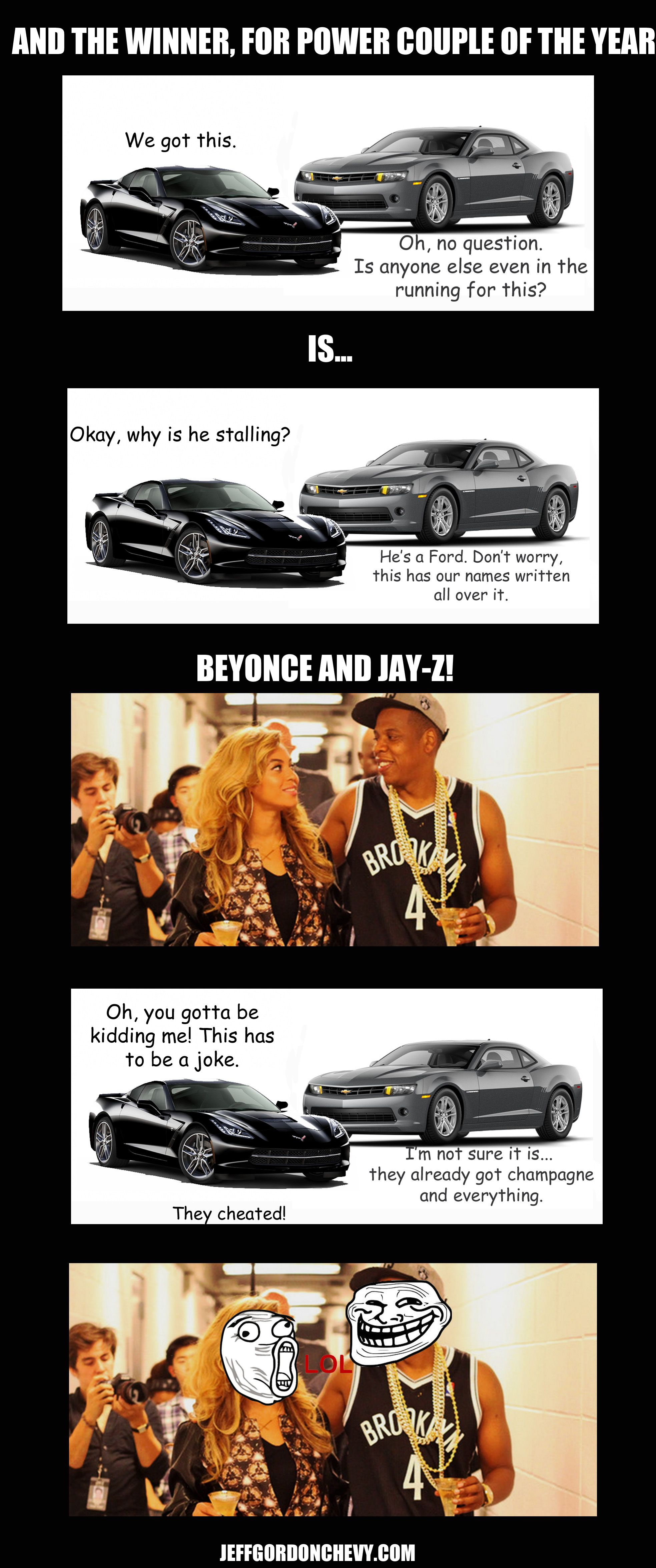 Power Couple Of The Year Beyonce Jayz Corvette Camaro Meme Carmemes Chevy Dealers Used Chevy Chevrolet