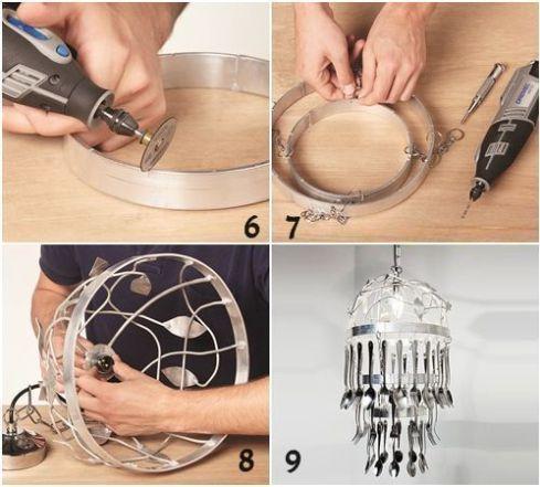 Cómo hacer una lámpara de techo con cubiertos para decorar tu cocina
