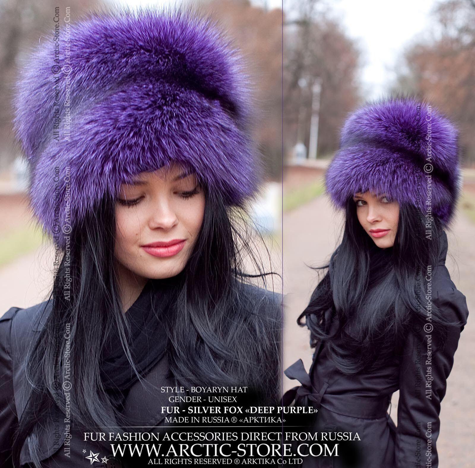 Boyaryn Luxe Deep Purple Silver Fox Fur Hat Russian Style Hat Fur Accessories