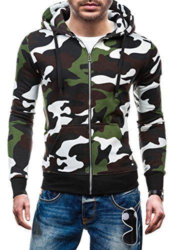 HOT RED 2539A Verde S [1A1] Hombre Muy Cómodo Diseño de Camuflaje Sudadera  Con