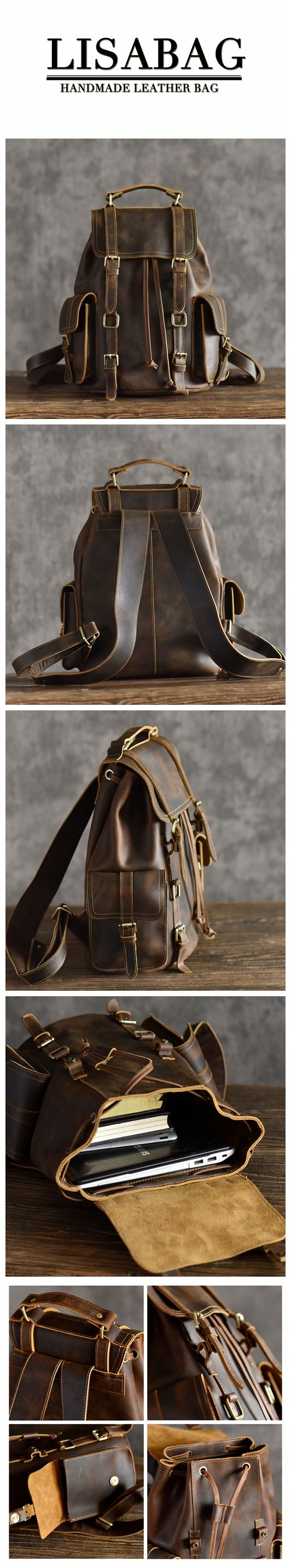 Vintage Leather Backpack Cool Hiking Rucksack Casual Leather Daypack in  Dark Coffee MT15 - Dark Coffee   Shopping Online   Pinterest   Bags,  Backpacks and ... d98a6951bf