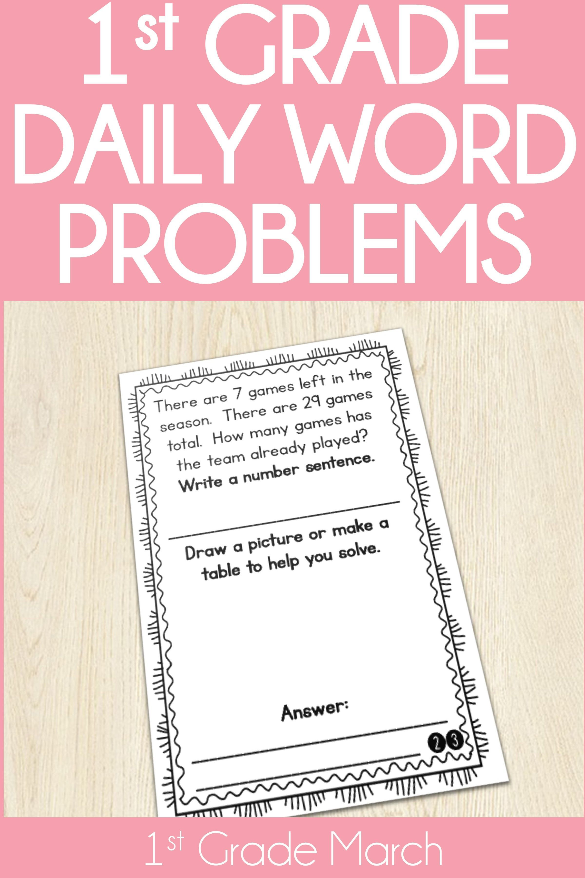 1st grade word problem of the day story problems march