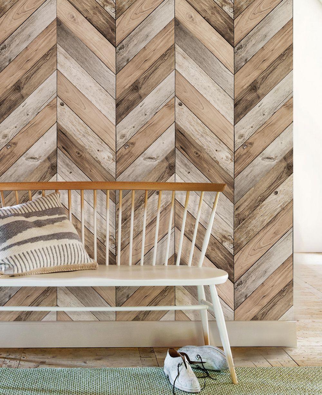 Chevron Wood Peel And Stick Wallpaper Wood Wallpaper Wood Plank Walls Herringbone Wood