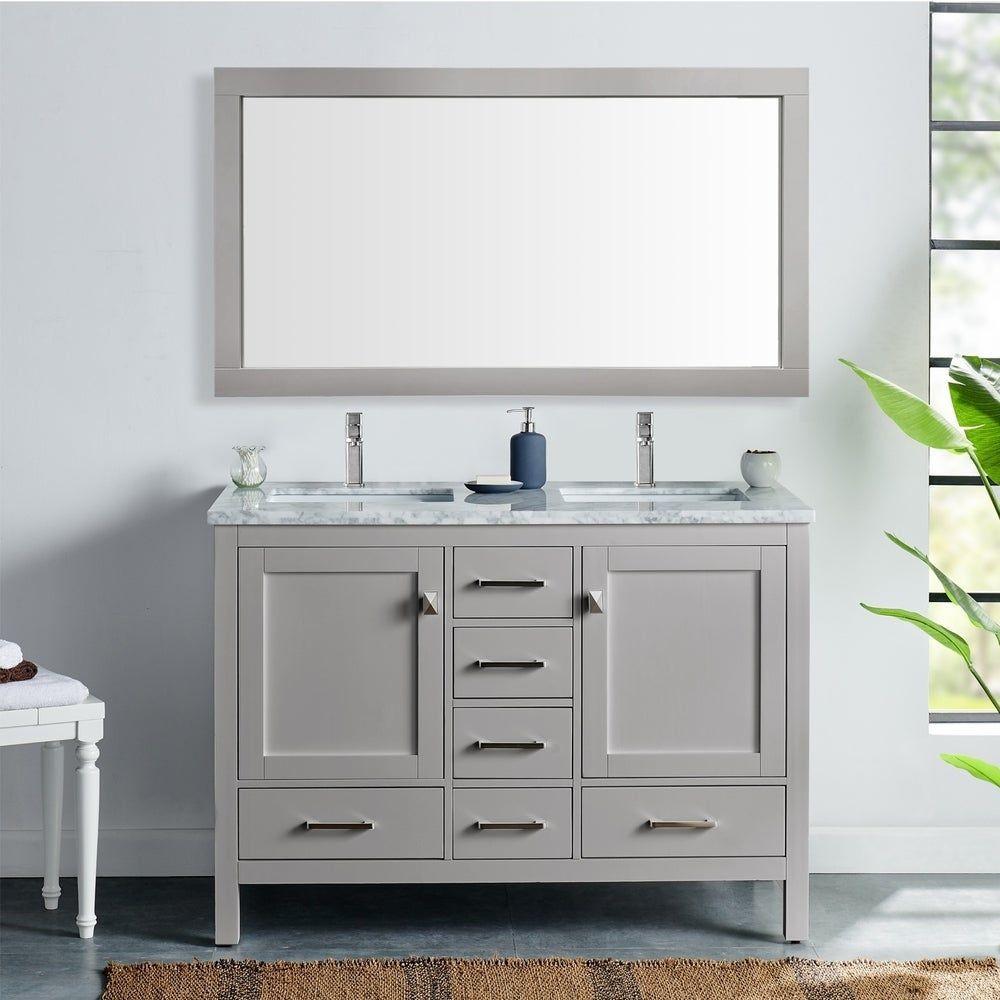 Eviva London 48 X 18 Grauer Waschtisch Grey Bathroom Vanity Bathroom Vanity Double Vanity Bathroom 48 x 18 bathroom vanity