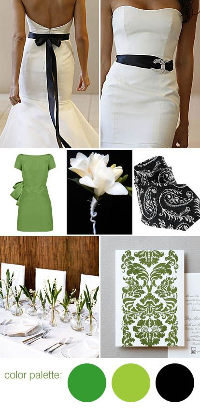Black White And Green Wedding Color Palette Green Wedding Colors Green Wedding Black White Wedding