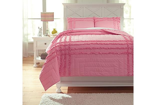 Kids Bedding | Pink Megara 3 Piece Full Quilt Set | Ashley Furniture  HomeStore |