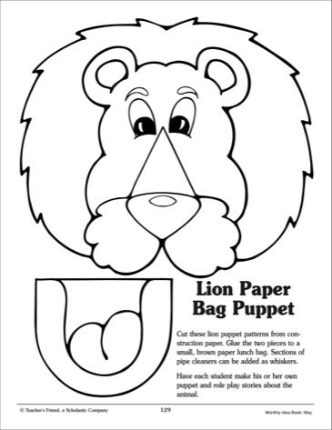 photograph relating to Printable Paper Bag Puppets identified as Paper Bag Puppet Template Lion: paper bag puppet practice