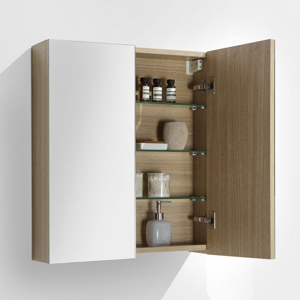 Armoire De Toilette Bloc Miroir Siena Largeur 60 Cm Chene Clair