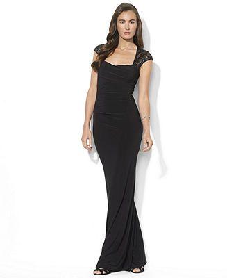 Lauren Ralph Lauren Cap-Sleeve Sequin Gown - Dresses - Women - Macy's
