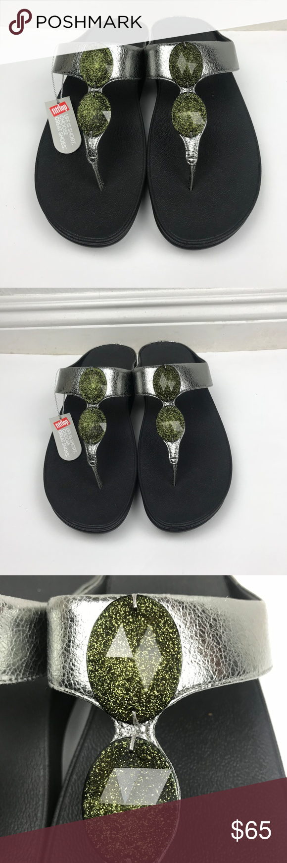 76c50d4f733498 FitFlop Pierra Pewter Toe Post Silver Sandals Brand  FitFlop Pierra Pewter  Toe Post Silver Beaded Thong Sandals Sz 11 NWT Size  11 Rubber Sole  Condition  ...