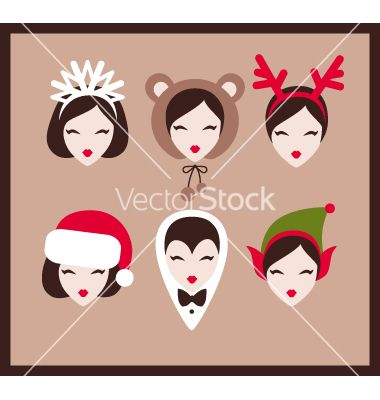 New year faces vector - by yemelianova on VectorStock®