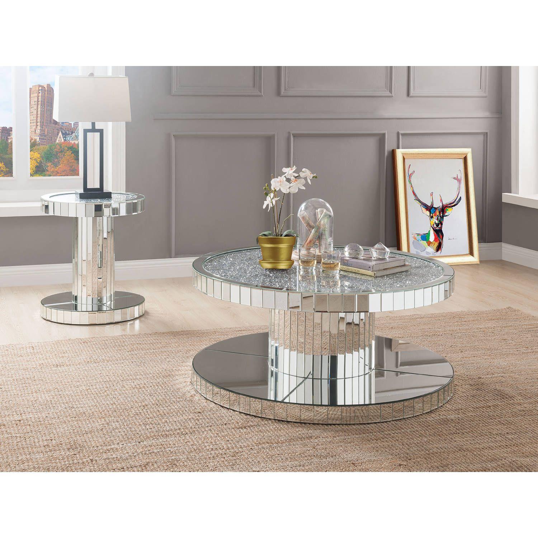 Acme Furniture 80302 Ornat End Table Mirror Faux Stones Stone Coffee Table Coffee Table Living Room Table Sets [ 1500 x 1500 Pixel ]