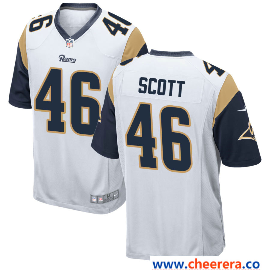 cheap for discount 93477 43897 Men's Los Angeles Rams #46 Nick Scott White Road Stitched ...