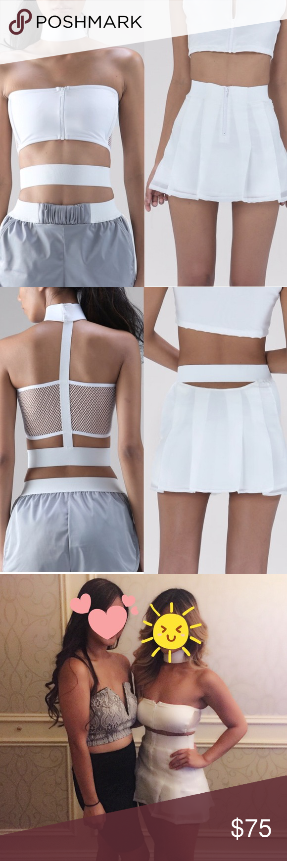 Nun Bangkok Dolls Kill Two Piece Set White Exo Crop - Crop top and Half light skort. Both are a size XS. True to size. Brand is Nun Bangkok. Worn once. Definitely a double taker. Super edgy! Selling both the choker top and skirt has shorts attached. Tags: Nasty gal Missguided Sabo Skirt Tobi NunBangkok Tops Crop Tops
