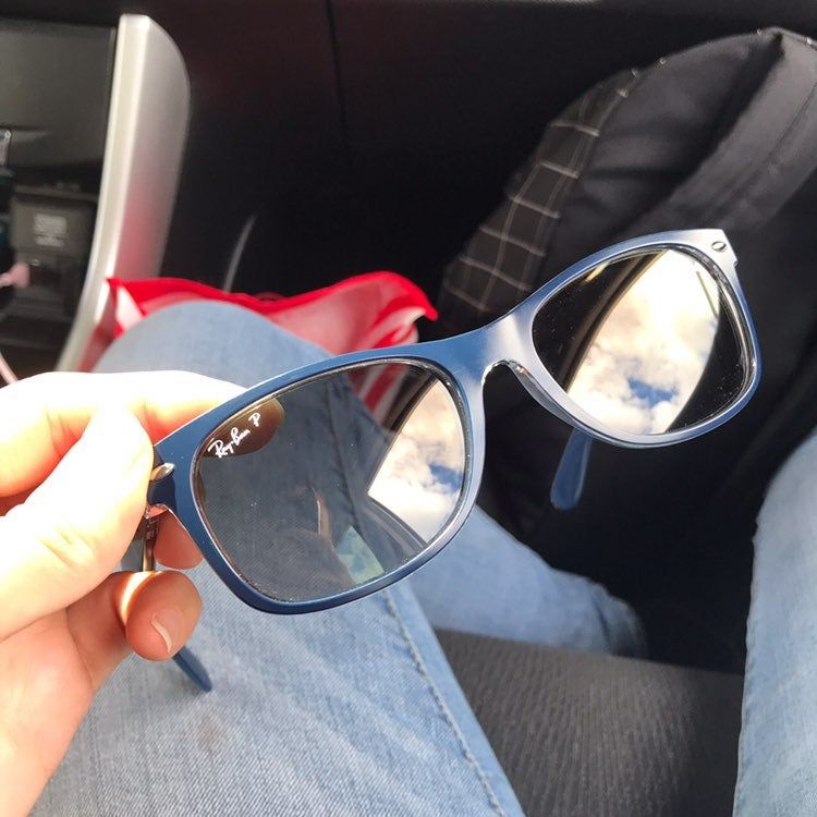 Ray Bans New Wayfarer In Blue With Blue Gray Classic Lenses Slightly Tinted Lens Polarized Like New No Major Scrat Blue Ray Bans Blue Sunglasses New Wayfarer