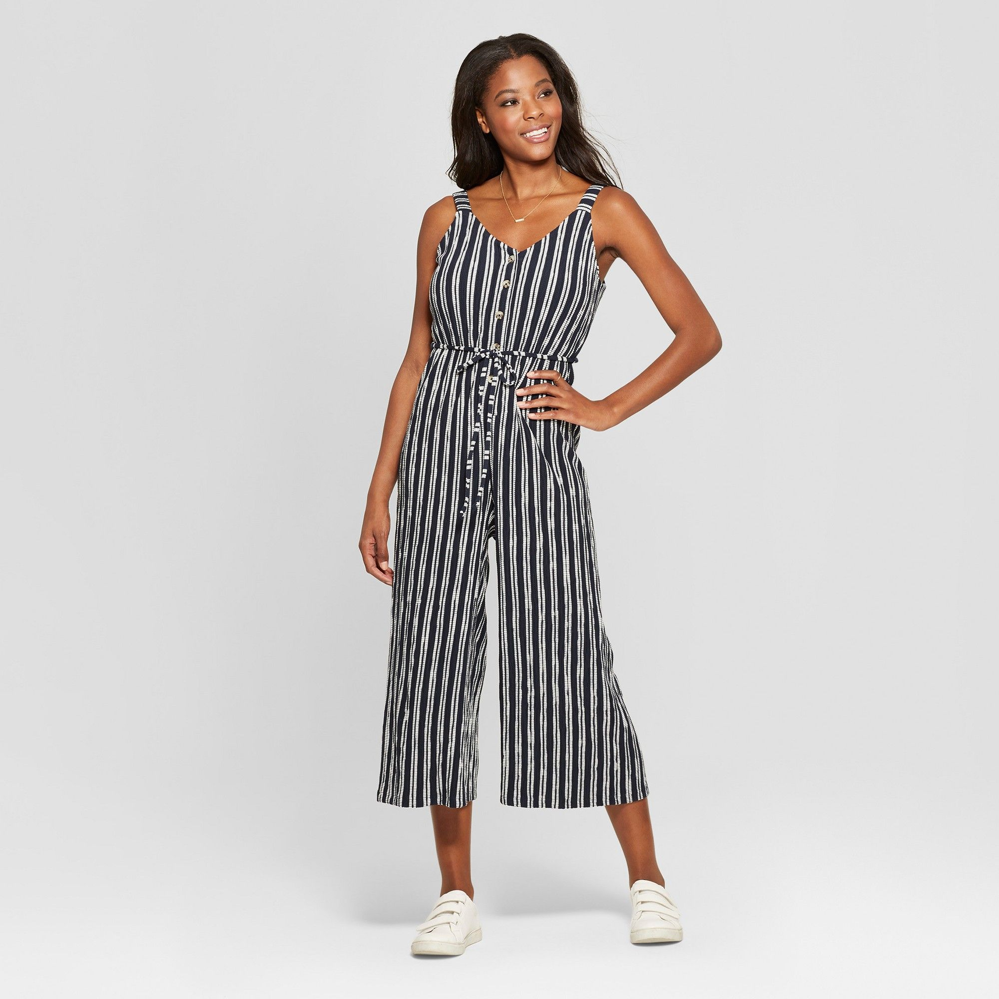 0d316f6e1eb4 Women s Striped Strappy Button Front Knit Cropped Jumpsuit - Xhilaration  Navy (Blue) White