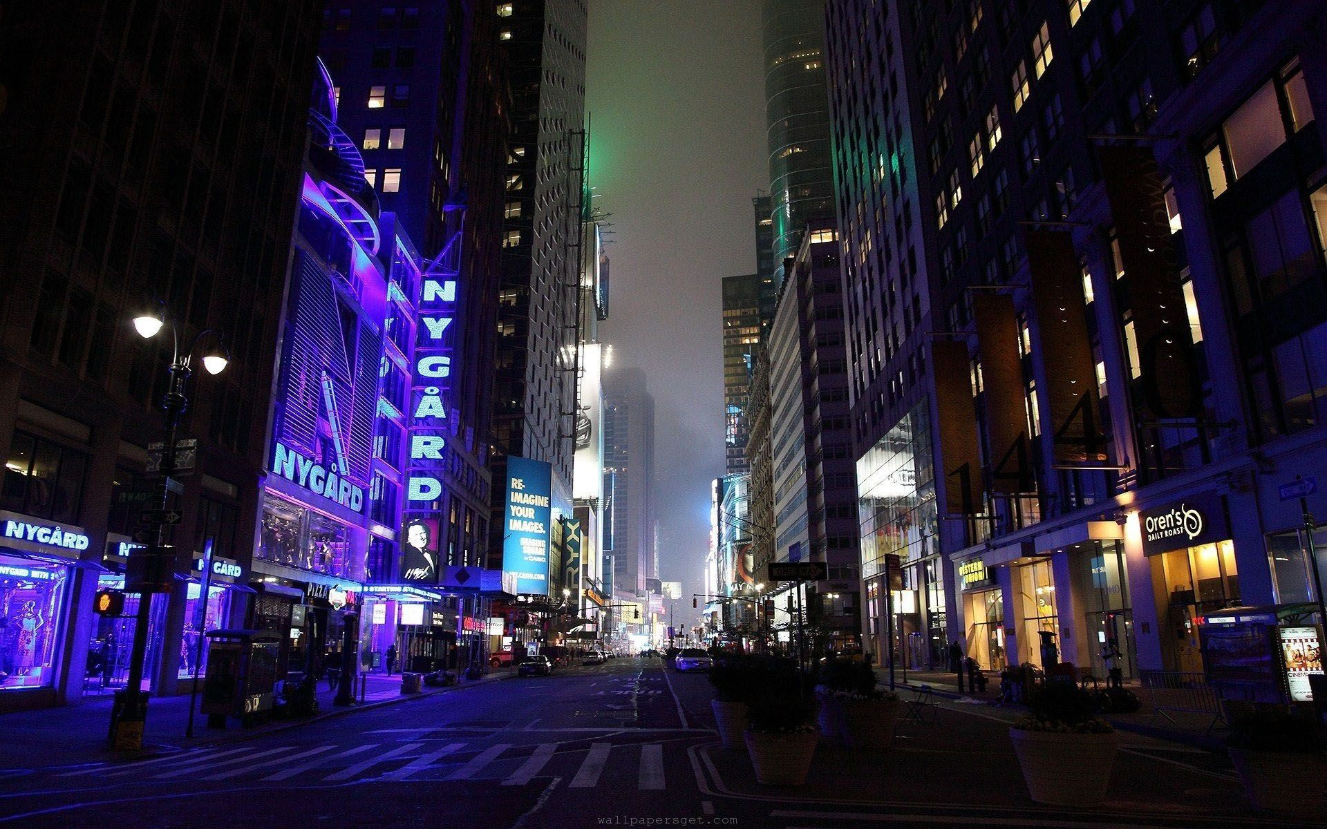 New York City Street At Night High Quality Wallpaper Hd Resolution City Lights At Night Night City City Wallpaper