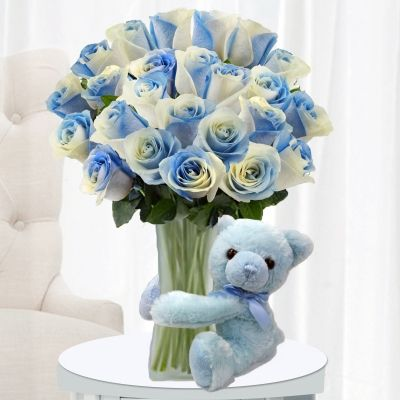 It S A Boy Roses With A Blue Teddy Bear It S A Baby Boy