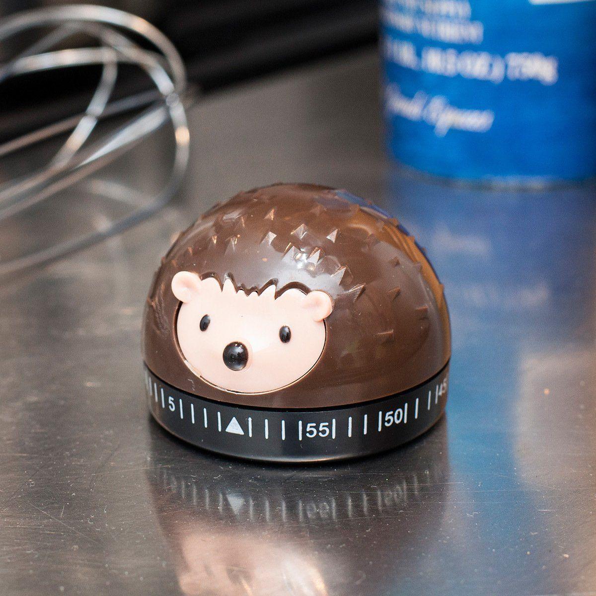 Kikkerland Hedgehog 60 Minute Kitchen Timer, Brown
