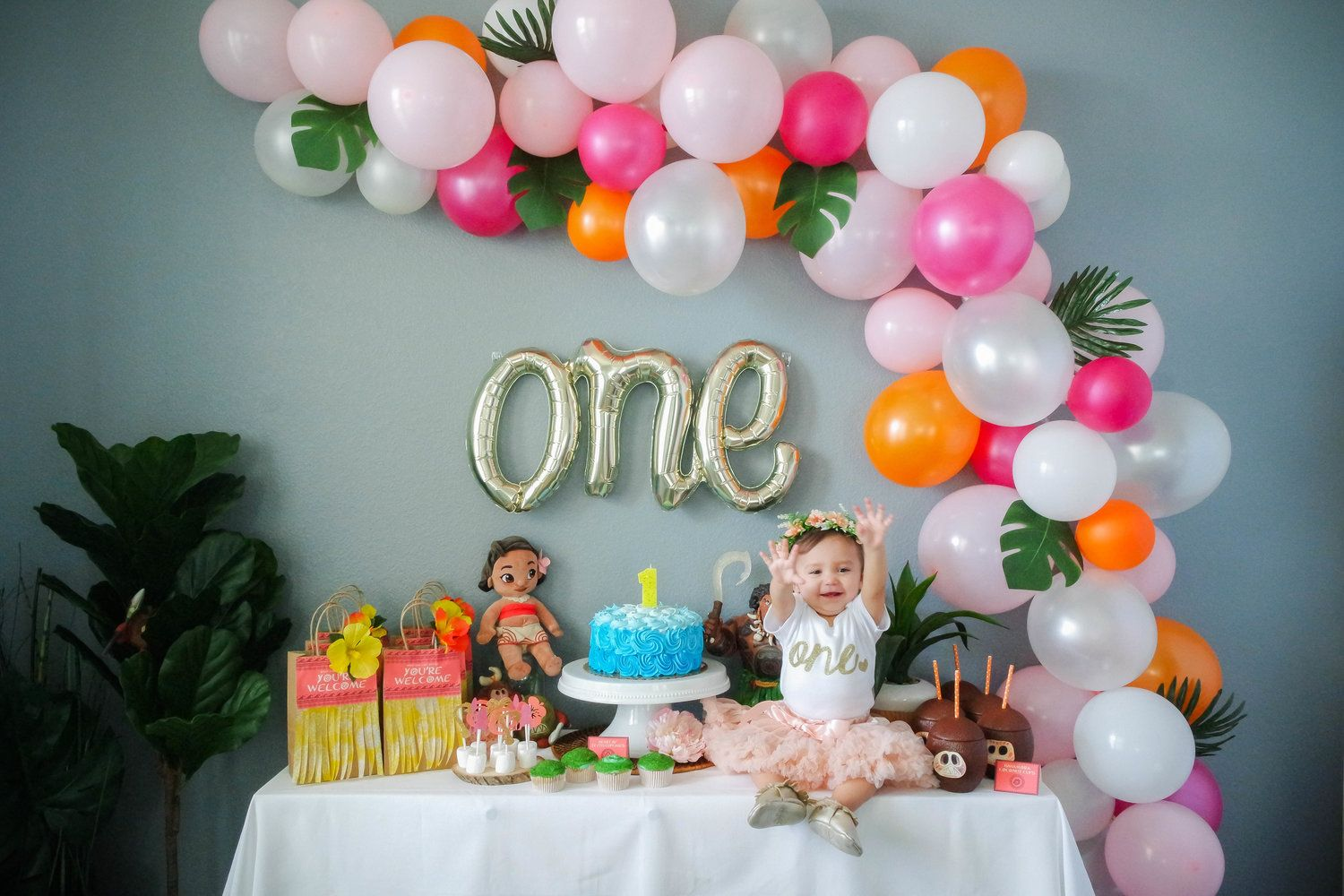Moana Themed Birthday Party One Year Old Birthday Party Moana Birthday Party Theme Moana Birthday Party Girl Birthday Decorations