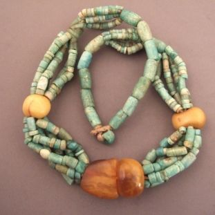 """Amber, amazonite, ceramics, Morocco   Description  A beautiful necklace from Morocco consisting of four beautiful real amber beads and pearls of amazonite ... this type of collar is now prized for the quality of its amber beads... the mixing with amazonite  (colour turquoise) is very unusual and nice!  Weight:190,6gr    Length:26,37 inch    www.halter-ethnic.com...see """"my Lucky Finds"""""""