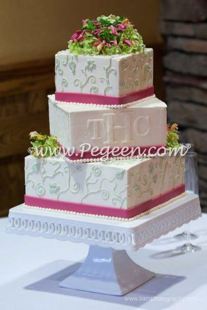 Pink and Green Wedding Cake - Wedding of the Month by Pegeen.com