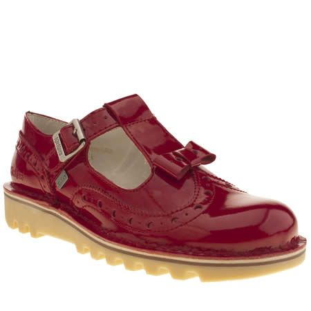 womens kickers red bow brogue patent flats | Kickers | Shoes