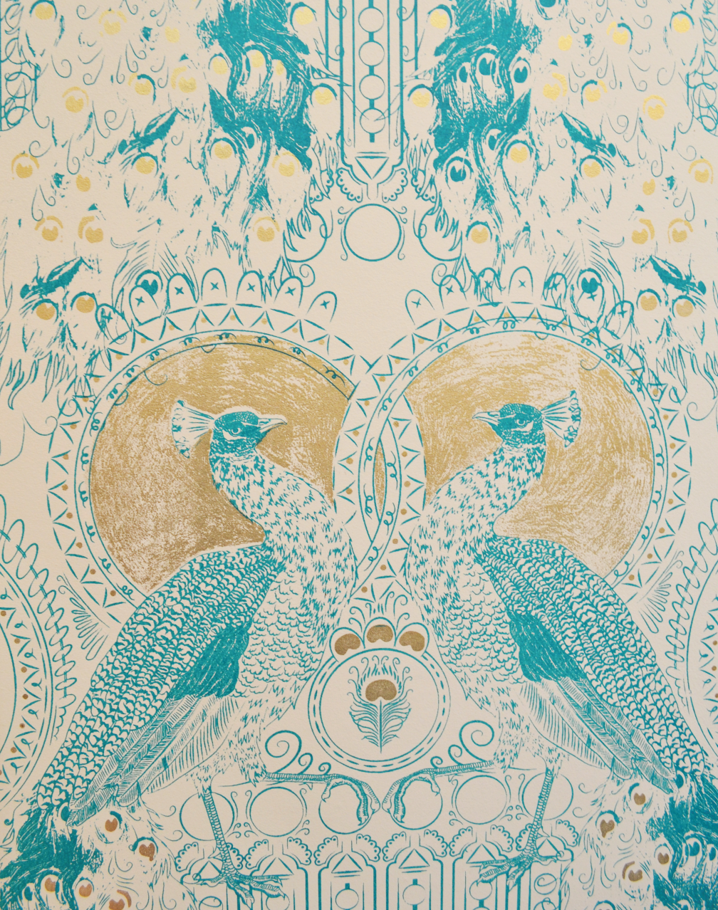 Eastern Peacock, Teal & Gold Teal and gold, Wallpaper