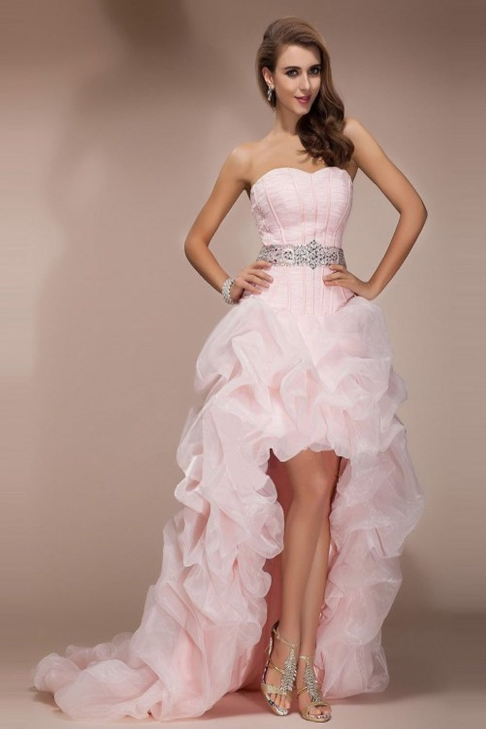 Pink high low backless beaded short front long back prom dresses