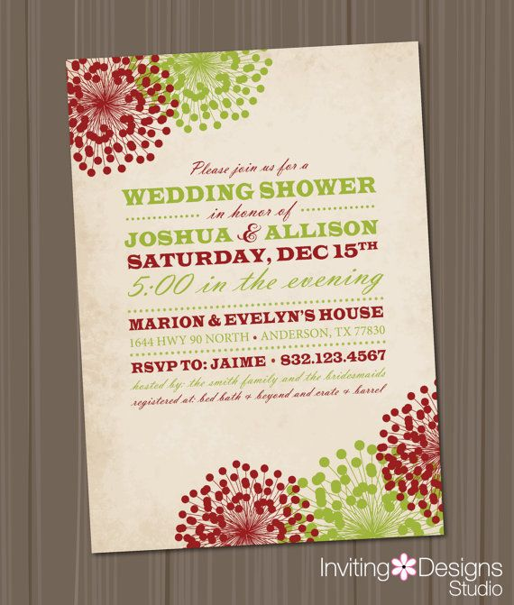 1000 images about Wedding ShowerDecember – Christmas Wedding Shower Invitations