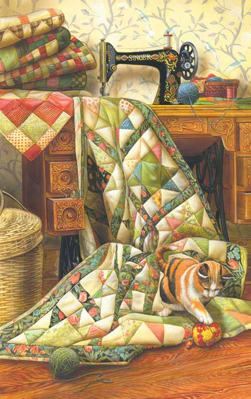 Cat On Quilt Jigsaw Puzzle Singer Machine And Case Different Kitty Quilts Art Quilts
