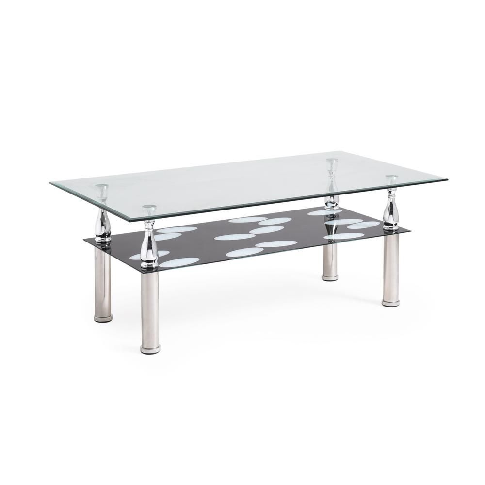 Hodedah Rectanglar Tempered Clear Black Glass 2 Tier Coffee Table