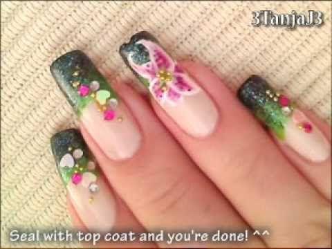 Stargazer Lily Flower Nail Art Design Tutorial