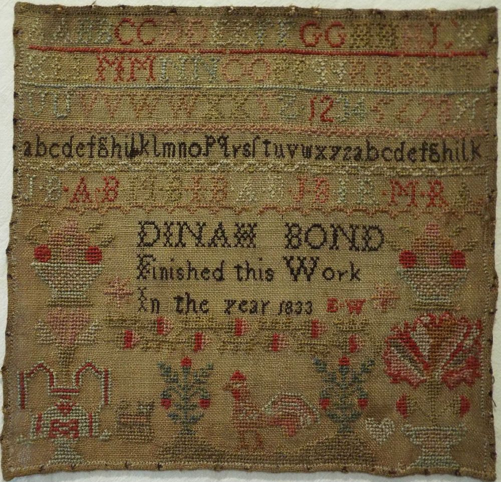 SMALL EARLY 19TH CENTURY SAMPLER BY DINAH BOND 1833