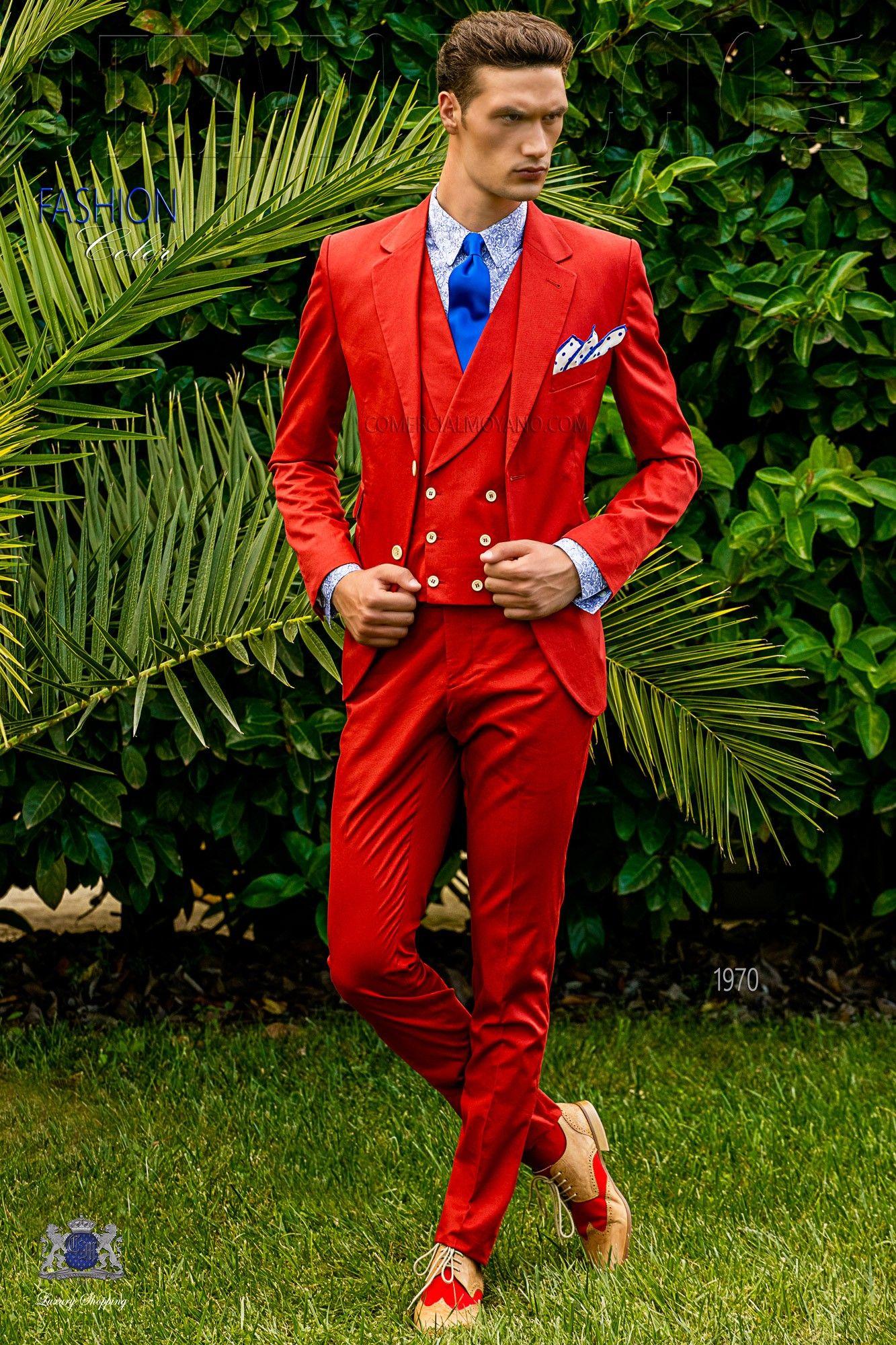 italienisch br utigam anzug rot aus baumwolle hochzeitsanzug 1970er und anz ge. Black Bedroom Furniture Sets. Home Design Ideas